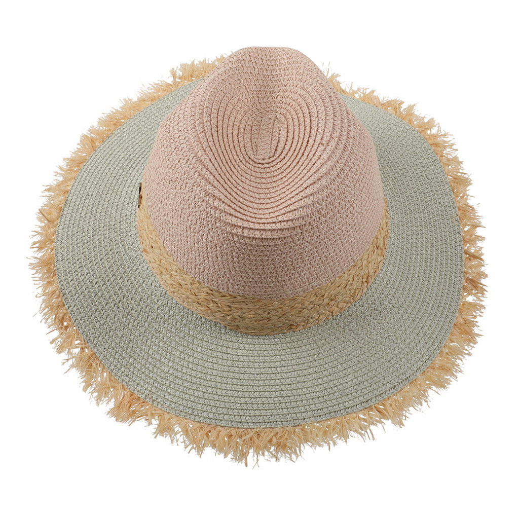SAGACE Leisure Straw Hat Travel Sunscreen Paper Butterfly Hat Diverse Colors Straw Hat Sunscreen Beach Solid Color