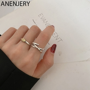 ANENJERY Vintage Smiling Face Crossed X-shape Open Rings for Women Girls Birthday Gift Jewelry Wholesale S-R847