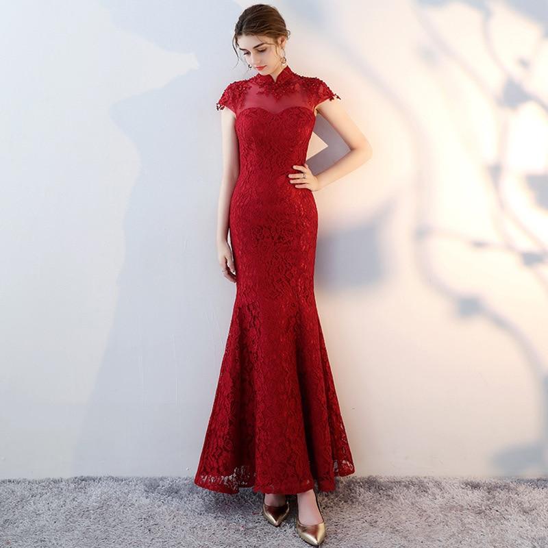 New Fashion Chinese Style   Evening     Dress   Floor Length Elegant Mermaid   Evening     Dresses