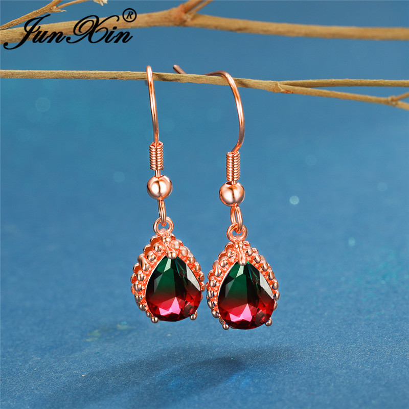 Vintage Rose Gold Rainbow Fire Crystal Water Drop Earrings For Women Red Green Blue Zircon Wedding Dangle Earrings Boho Jewelry