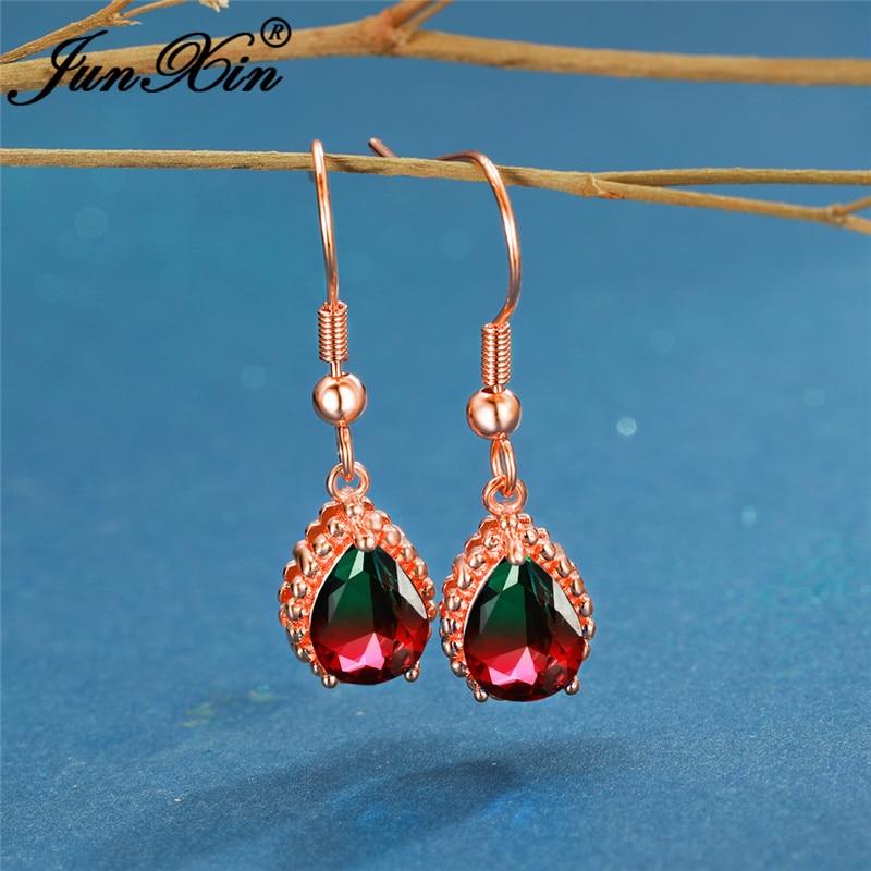 Vintage Rose Gold Rainbow Fire Crystal Water Drop Earrings For Women Red Green Blue Zircon Wedding Dangle Earrings Boho Jewelry