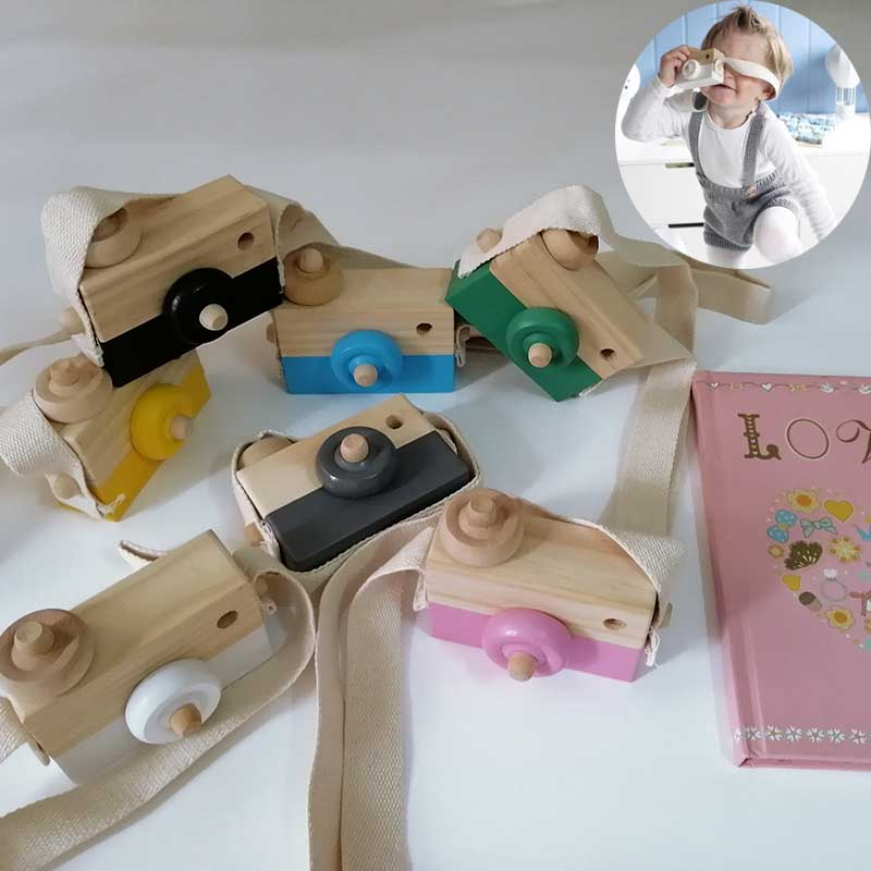 Cute Nordic Wooden Toys Camera Kids Hanging Camera Photo Prop Decoration Children Montessori Toys Baby Birthday Christmas Gifts