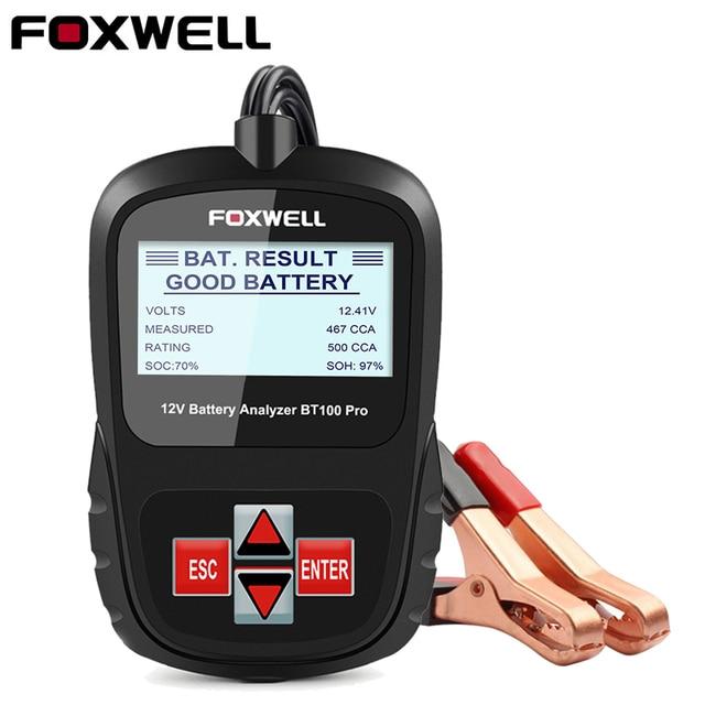 FOXWELL probador de batería de coche BT100 Pro 12V, para GEL AGM inundado con ácido de plomo, analizador Digital de batería de 12V, herramienta de diagnóstico 100 1100CCA