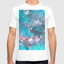 Clear Mind T Shirt Pattern Abstract Pour Art Cells Marble Blue Red Ocean Colorful Fluid(China)