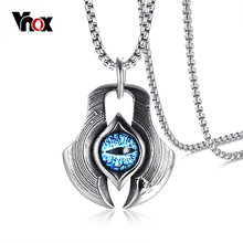 "Vnox Retro The Eye of Persia Pendant Necklace for Men Women Punk Erkek Kolye Turkish Necklace Jewelry Free Chain 24""(China)"
