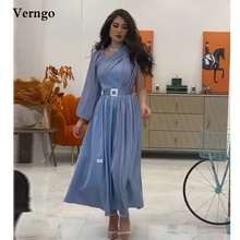 Verngo Dusty Blue A Line Evening Dresses Puff Long Sleeves Pleats Silk Satin Ankle Length Prom Gowns Saudi Arabic Party Dress