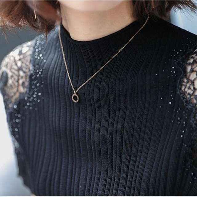 Women Spring Autumn Style Knitted Blouses Shirts Lady Casual Turtleneck Lace Decor Blusas Tops DD8043 3