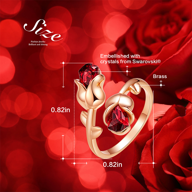 Cdyle Luxury Brand Jewellery Light Siam Crystals Rose Flower Adjustable Ring for Women Valentine Gift Free Shipping 3