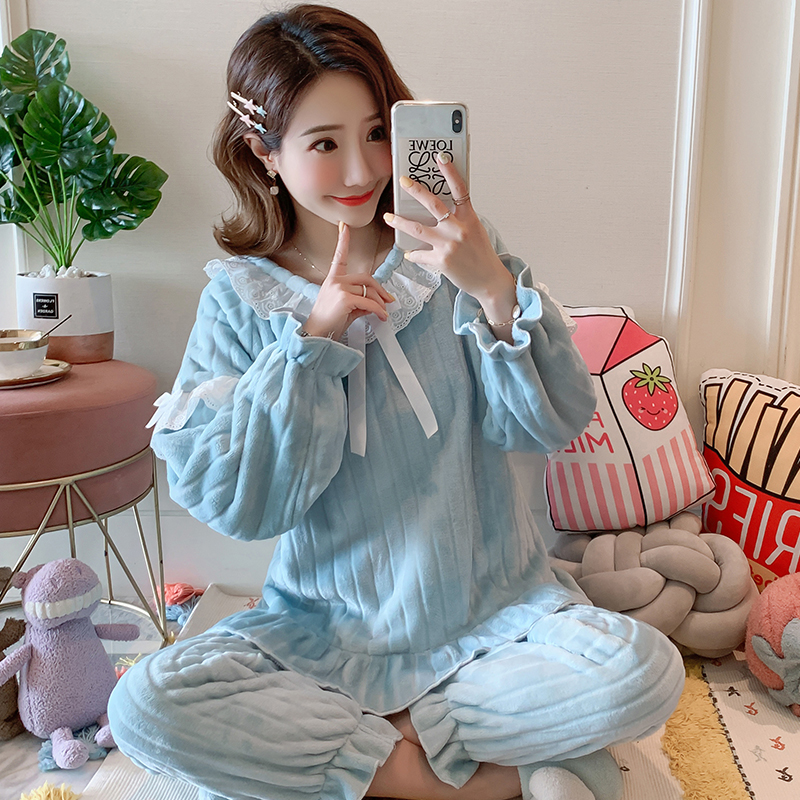 Loungewear Women 2019 Winter Warm Flannel Pajamas Set for Women New Air Cotton Print Christmas Clothes Thicken Home Service 17