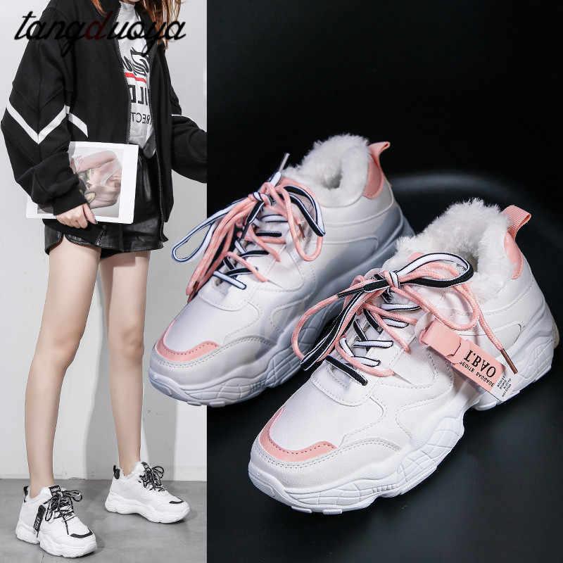 Vrouw laarzen comfort pluche sneakers vrouwen platform sport schoenen vrouw loopschoenen waterdichte winter sneakers femme fitnes
