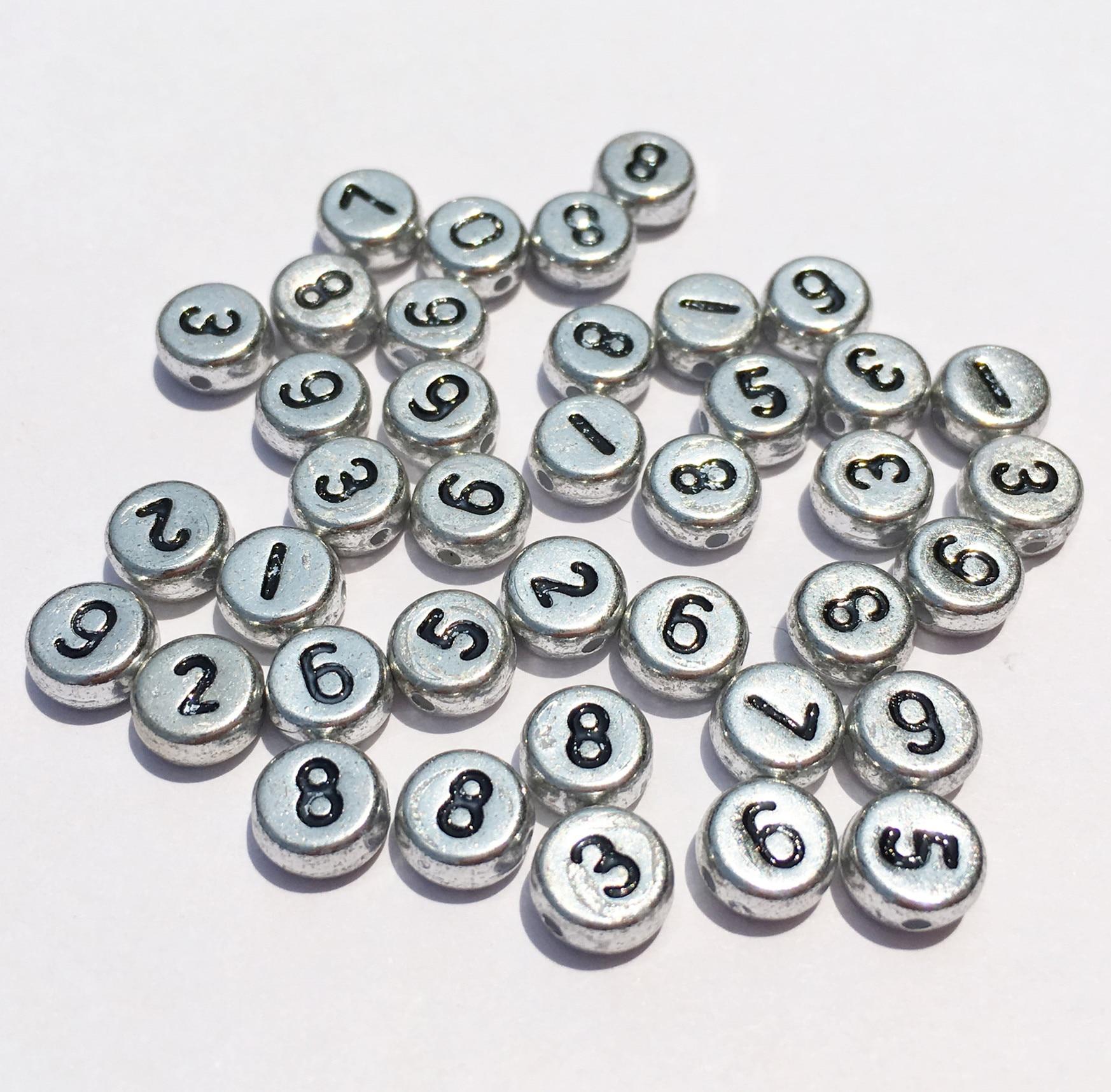 Мини заказ 200 шт. 4*7 мм Серебряные бусы номер плоская монета круглые Форма из