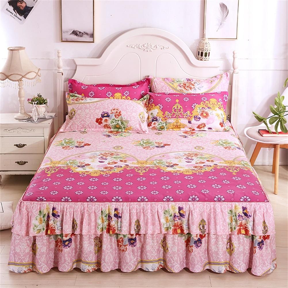 3PCS 150x200cm Floral Bed Skirt Set Fitted Sheet Cover Graceful Bedspread Skin Friendly Cotton Elastic Quilt Mattress Cover