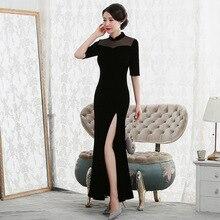 fishtail velvet cheongsam dress long sleeve dress in fashionable improvement of cultivate morality before open fork