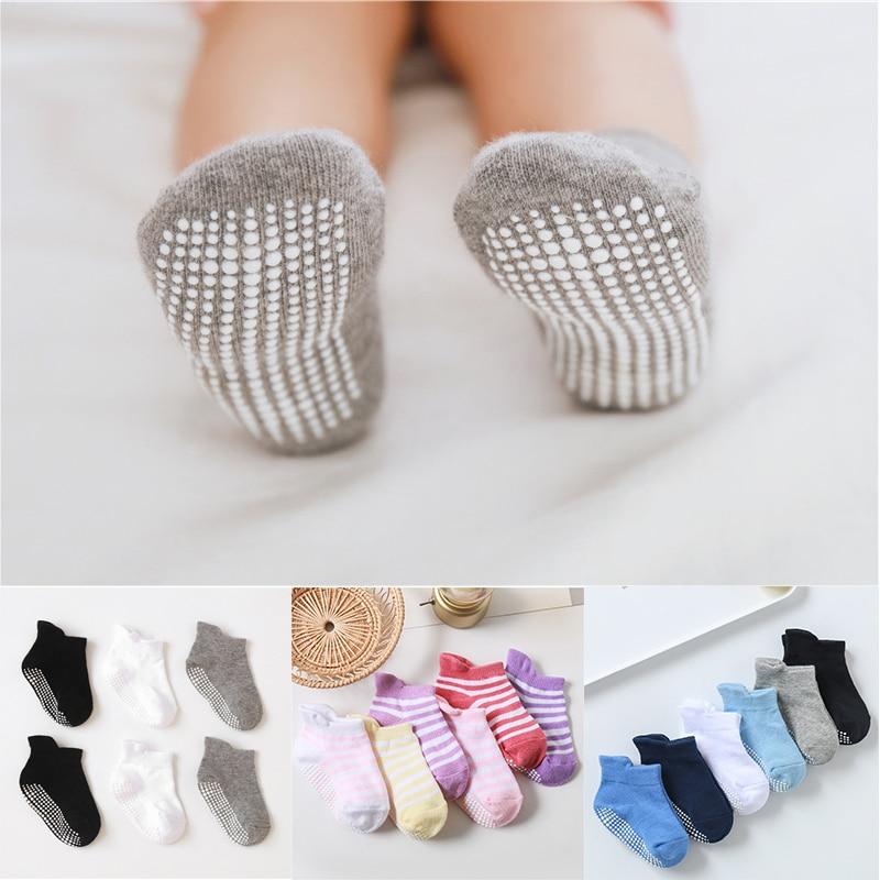 6 pares/lote 0 a 5 anos antiderrapante não skid tornozelo meias com apertos para o bebê da criança crianças meninos meninas todas as estações meias de algodão