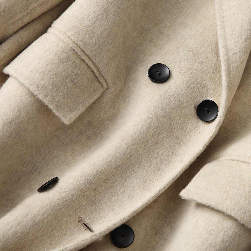 Otoño invierno abrigo mujer abrigo de lana auténtica chaquetas largas femeninas coreano elegante Alpaca lana chaqueta ropa abrigo 18866