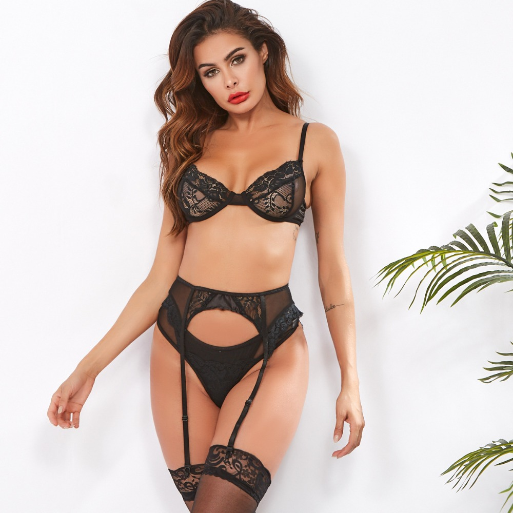 Ellolace Sexy Lingerie Underwear Set Women Erotic Transparent Underwire 3 Piece Set Hollow G-String Thong 2019 Bra & Brief Set