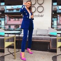 Autumn New Women Velvet Blazer Jacket Female female Blue blazer for ladies outwears