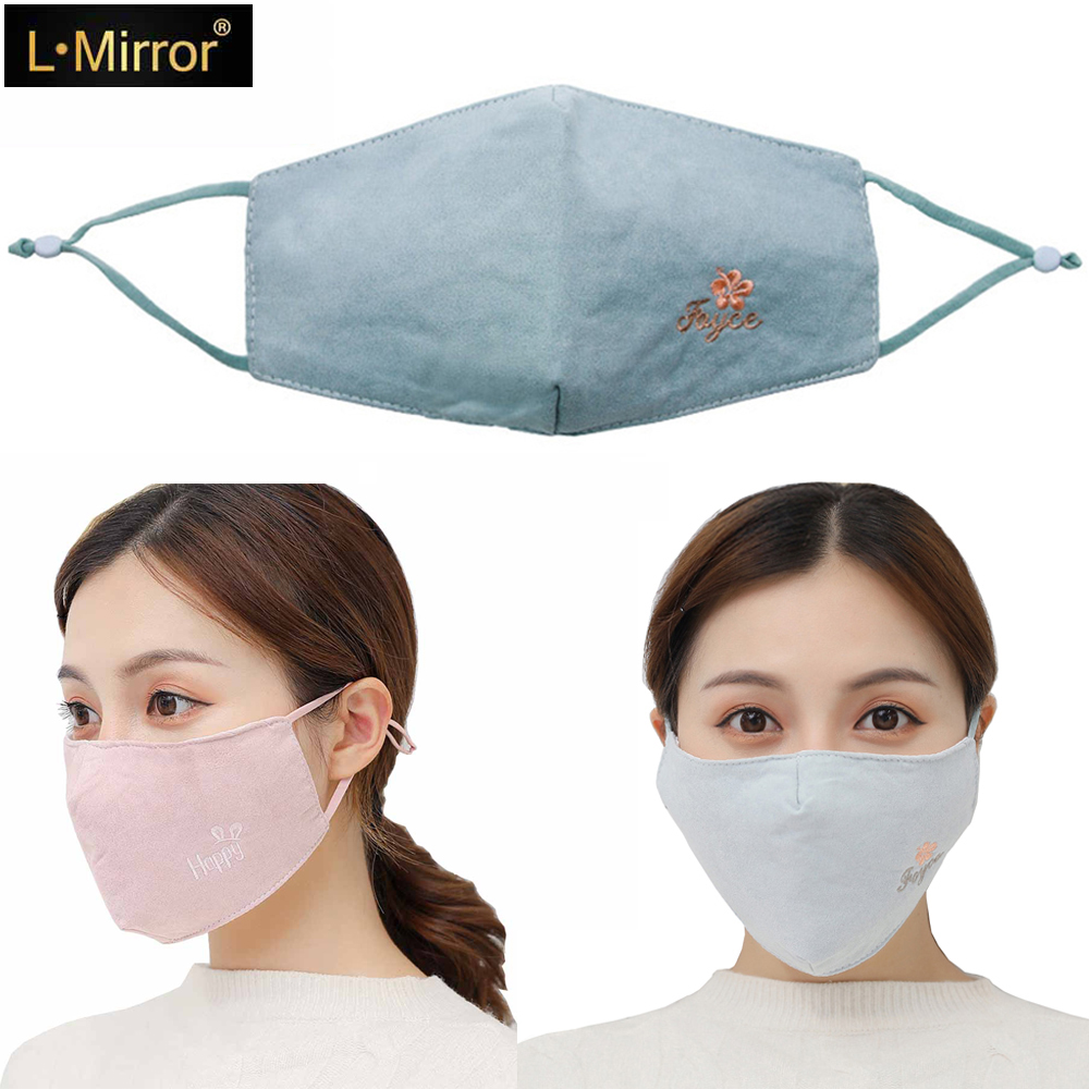 L.Mirror 1Pcs Women Warm Cotton Face Mouth Mask Breathable Mouth Mask Washable Anti Dust Mouth Mask For Winter Cycling New