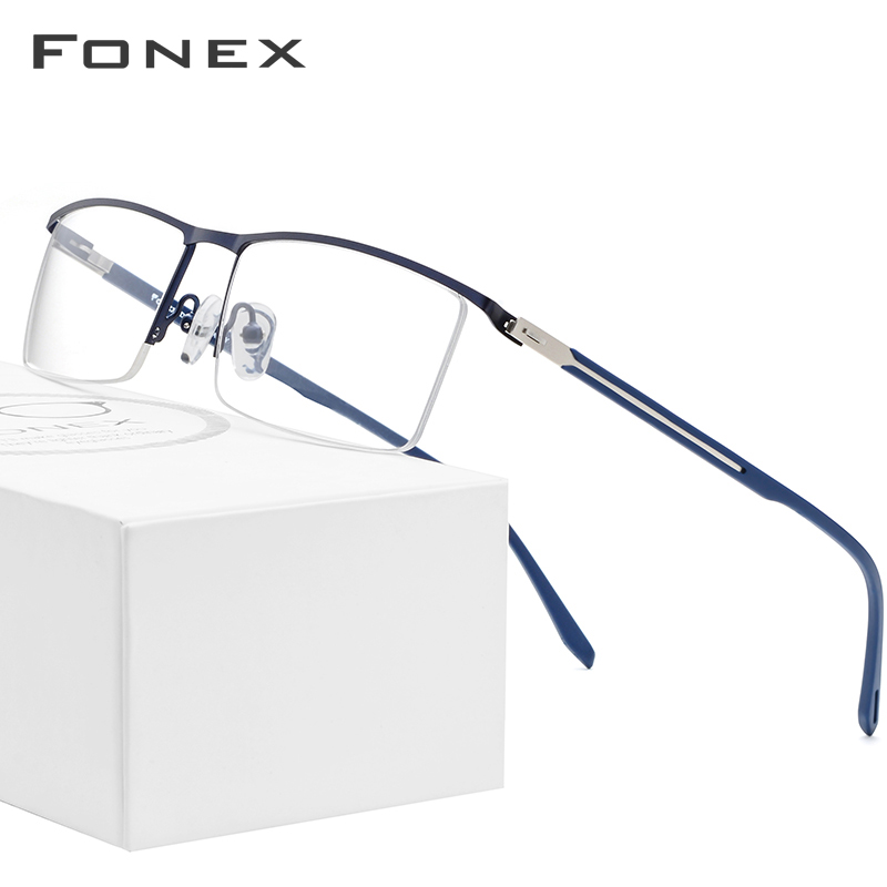 Semi Rimless Alloy Glasses Frame Men Ultra Light Half Square Myopia Prescription Eyeglasses Optical Frames Screwless Eyewear