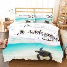 Um jogo de cama 3d impresso capa edredão conjunto mar tartaruga têxteis para casa para adultos roupas com fronha # hg09
