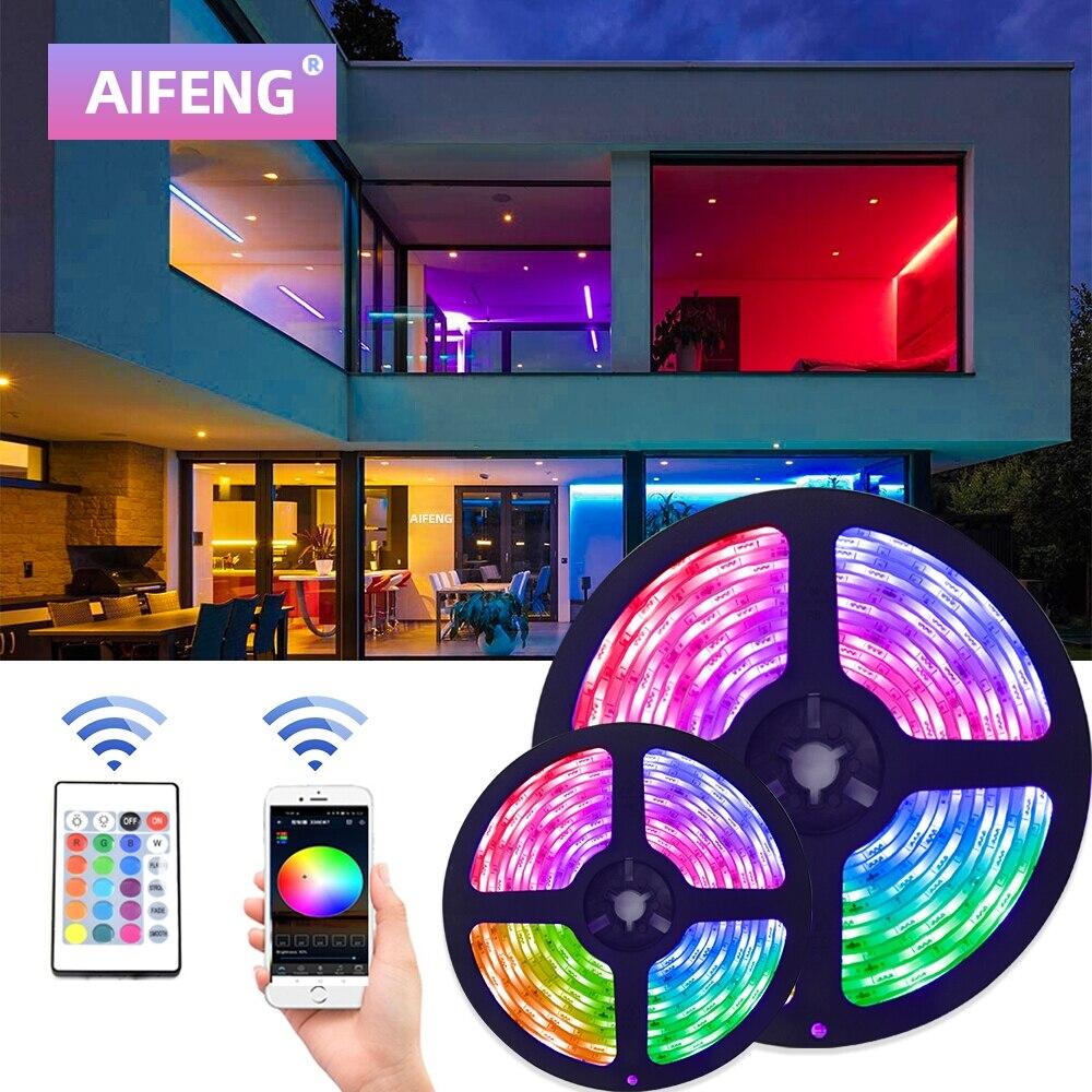 AIFENG Wi Fi, цветная (RGB) светодиодная лента гибкая лента номер светильник RGB 5050 SMD 2835 Led полосы светильник 5 м 10 м 15 м DC 12V с дистанционным управлением Управление|Светодиодные ленты|   | АлиЭкспресс