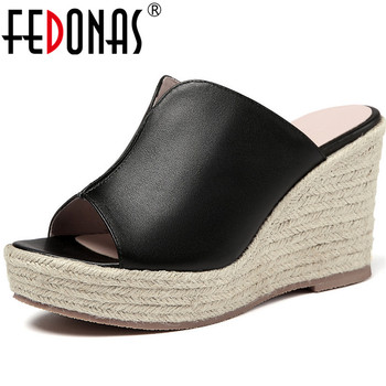 FEDONAS Shallow Fashion Genuine Leather Sandals Slingbacks Slippers Wedged Platforms High Heels Pumps Basic Summer Shoes Woman