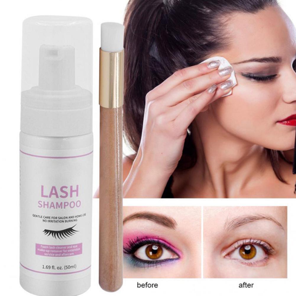 VIBRANT GLAMOUR 50ml Eyelash Cleanser Foam Shampoo Pump Design Cleaning Eye Lashes Eyelash Extension Eyes Makeup Beauty Set