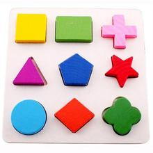 Baby Toddler Wooden Geometric Shapes Sorting Math Puzzle Board Educational Toys for Children Kids