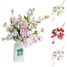 1Pc Artificial Silk Cherry Blossom Flower Bouquet Wedding Home Floral Decor home decor hot sales 2019