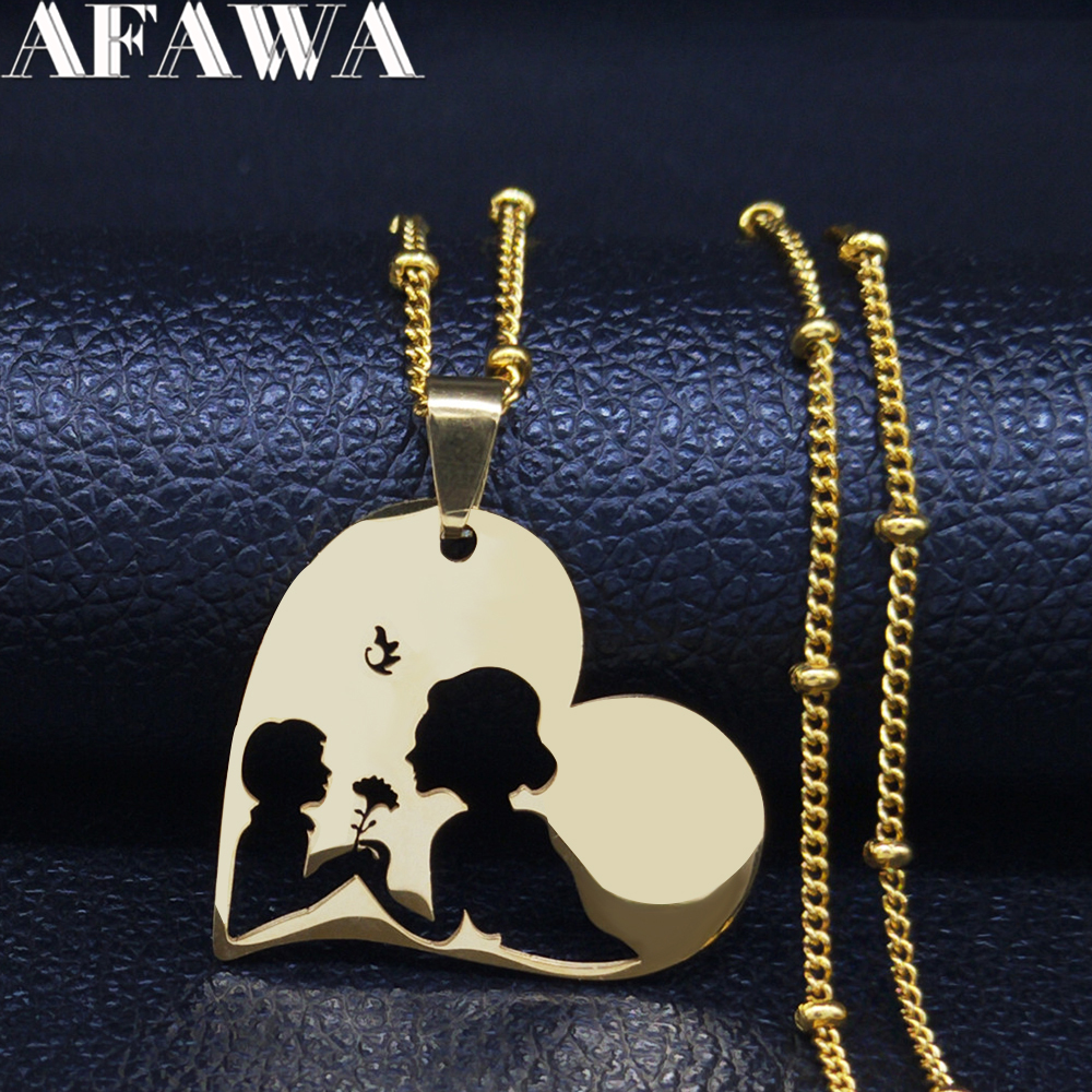 Baby Mom Stainless Steel Necklace Women Gold Color Statement Necklaces Mother's Day Gift Jewelry kettingen voor vrouwen N3111S01