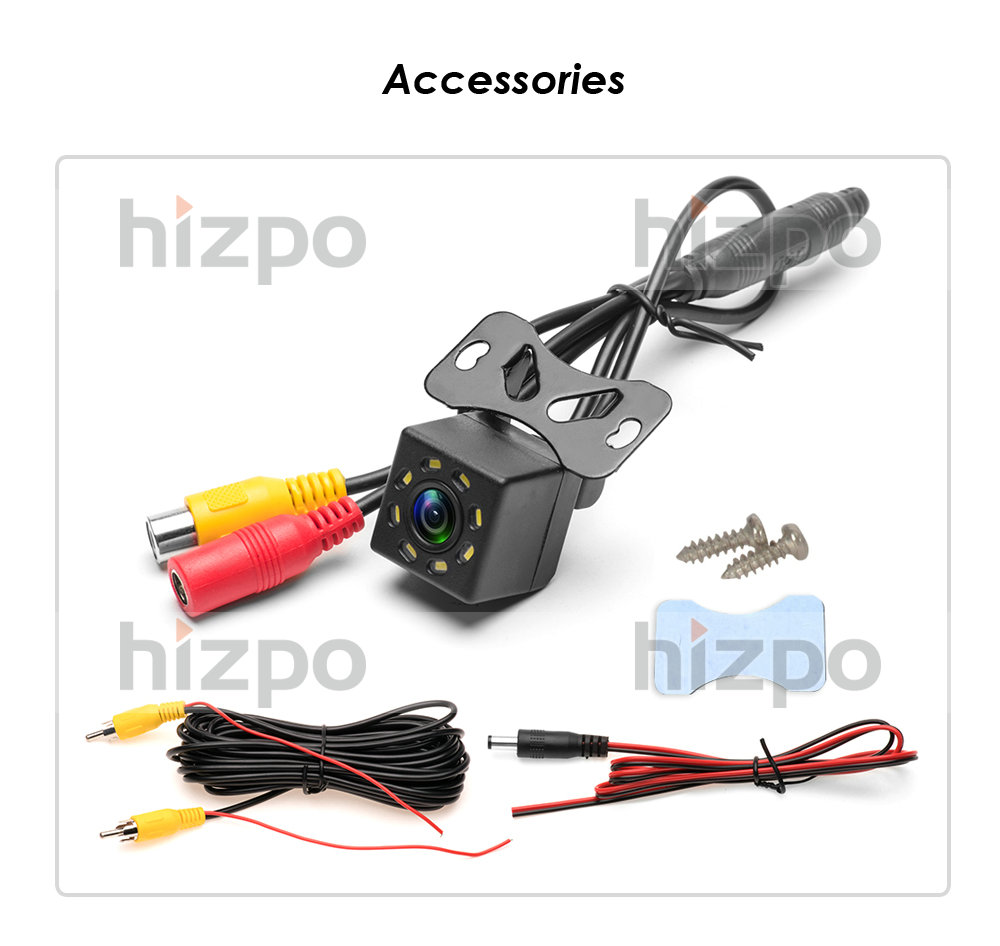 Car Rear View Camera Universal 8 LED Night Vision Backup Parking Reverse Camera Waterproof 170 Wide Angle HD Color Image For Car