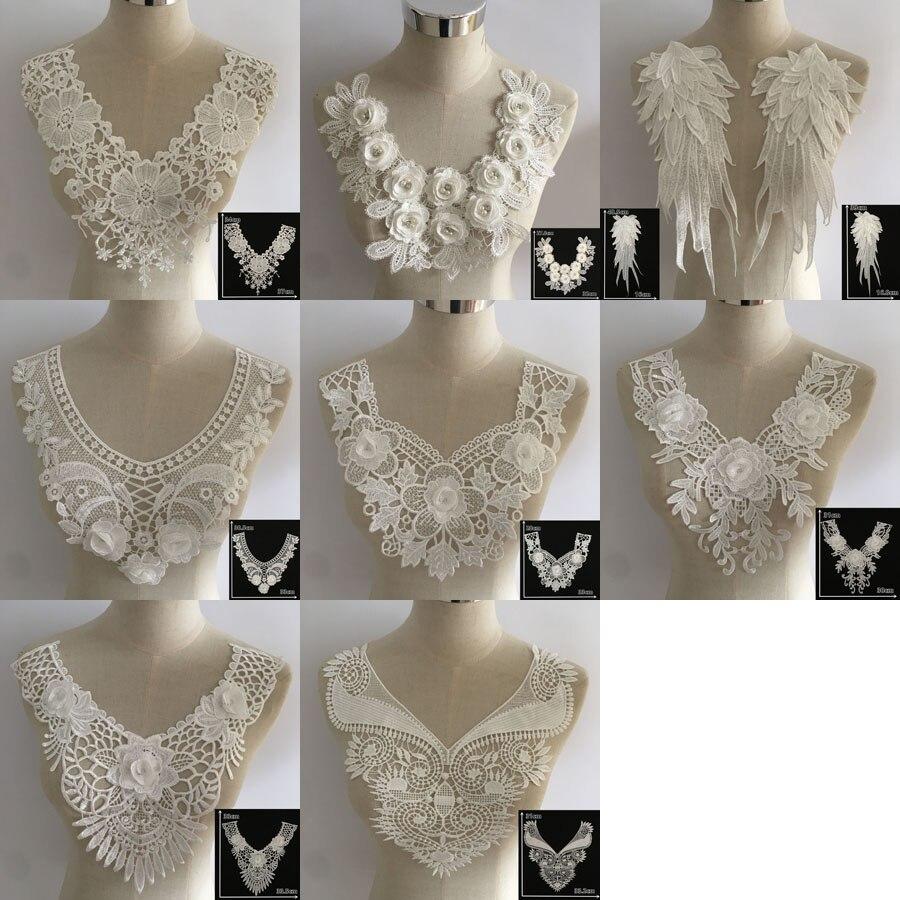 באיכות גבוהה DIY רקמה לבן תחרה צווארון Applique מחשוף דקורטיבי אביזרי הכלה חתונה שמלה