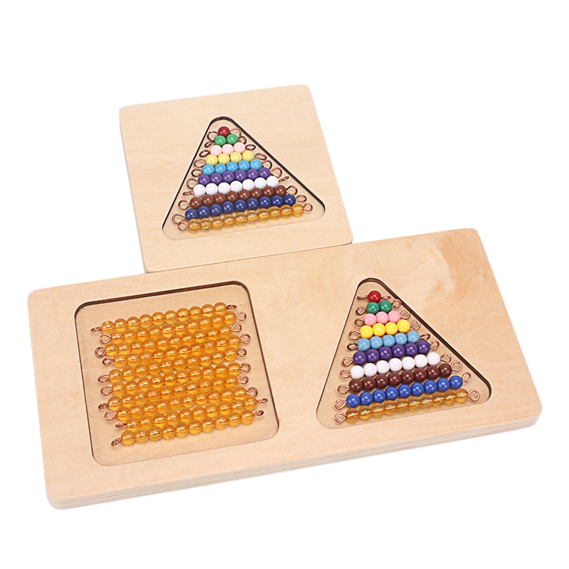 Montessori Materials Math Toys Wooden Beads Stair Board 1-20 Digitals Numbers Beads Toy Math Practice Training Toys For Children
