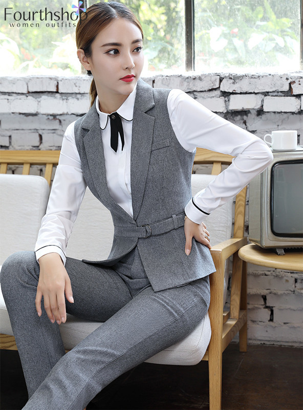 Elegant Pant Suits Women Fashion 2 Pieces Waistcoat And Pants Set Autumn Winter 2019 Casual Vest Trousers Suit Female Plus Size