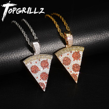 TOPGRILLZ Buzlu Out Pizza Kolye ve Kolye Bakır Altın Gümüş Renk Mikro Kaplamalı Kübik Zirkon Hip Hop Takı Hediye erkekler