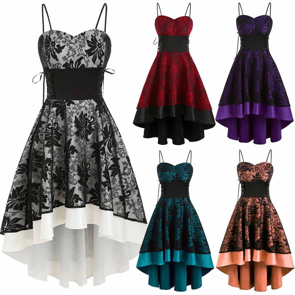 Lace Up jurk Vrouwen Mode Vintage Hoogwaardige Cami Bandage Hoge Lage Jurk Herfst Winter Dames Spaghetti Strap Party Dress