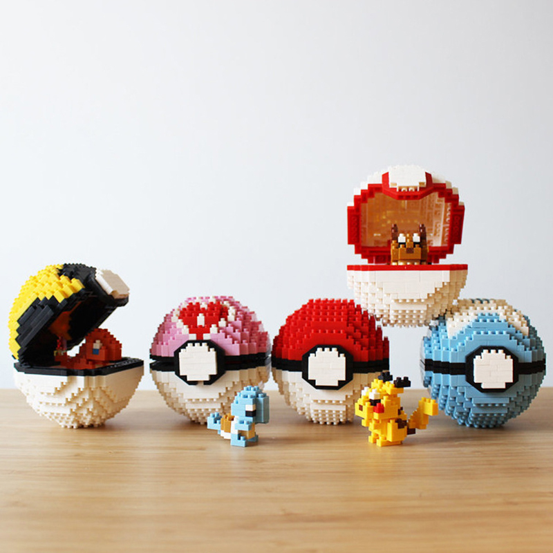 Mini Blocks Pokeball Mini Building Brick 3D Cartoon Character Model Educational Toys For Children