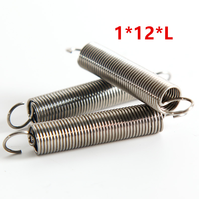 5pcs Dual Hook Small Tension Spring 304 Stainless steel Extension spring wire dia 1mm Outer dia 12mm Length 30-100mm