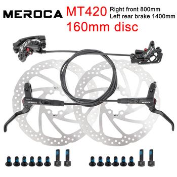 MEROCA MT420 MTB hamulec rowerowy hydrauliczny 160mm hamulec tarczowy czterotłokowa przednia prawa lewa tylna hamulec 800 1400mm rowerowy hamulec olejowy tanie i dobre opinie GOLDIX CN (pochodzenie) MEROCA-MT420 Hydrauliczny hamulec tarczowy (hydrauliczne klocki hamulcowe) Światło stopu Bicycle brake