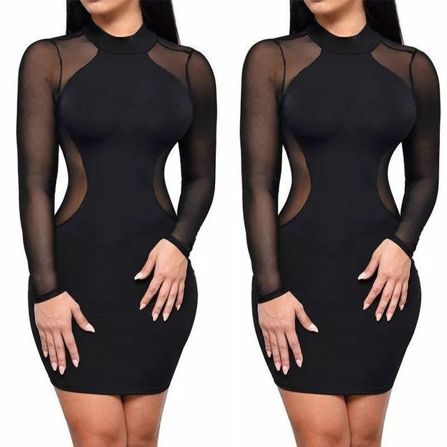 Sexy Women Mesh Sheer Long Sleeve Bodycon Party Club Mini Short Dress Black Sexy Patchwork Sheath Ladies Dress Clubwear
