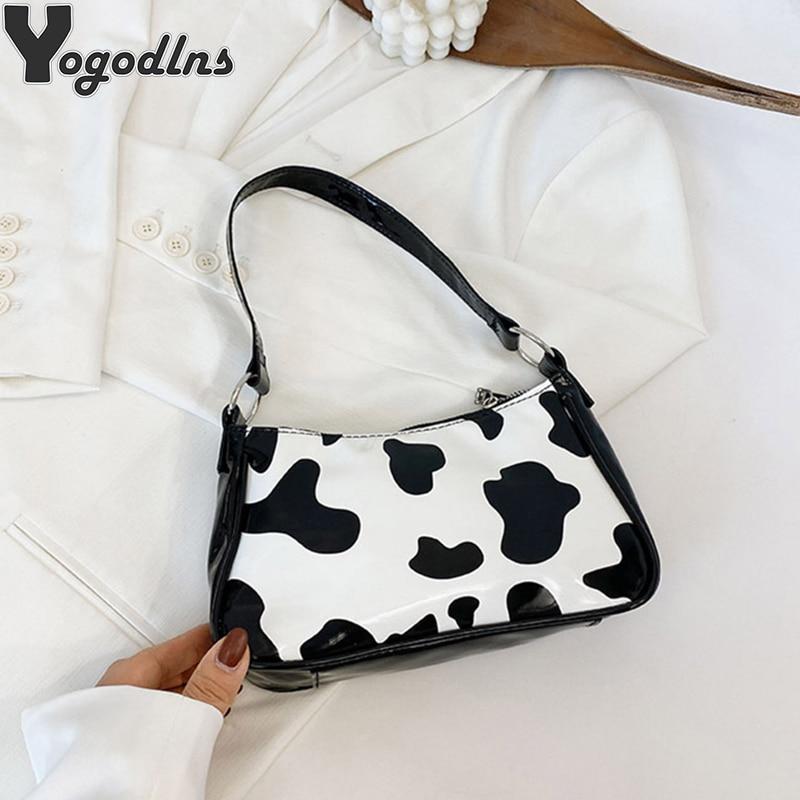 Bolso Baguette Retro con estampado de vaca para mujer, bandolera a la moda, Mini bolso de diseñador de piel sintética y monedero