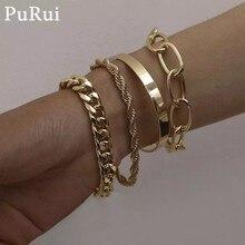 PuRui 4 pièces Punk gourmette cubaine chaîne Bracelets ensemble pour les femmes Miami Boho épais or couleur Bracelets porte-bonheur Bracelets bijoux de mode