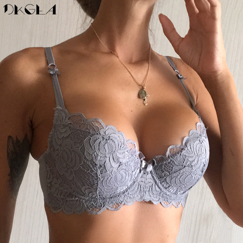 Comfortable Thin Cotton Women Underwear White Sexy Bra Plus Size C D Cup Embroidery Brassiere Push Up Bras Lace Lingerie Black 1