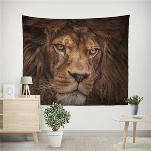 Image 5 - Lion Tiger Tapestry Colorful Animal Tapestry Wall Hanging Lion and Tiger Printed Decoration