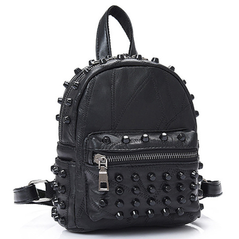 Women'S Leather Rivet Backpack Mini Punk Style Backpack Stitching Backpack