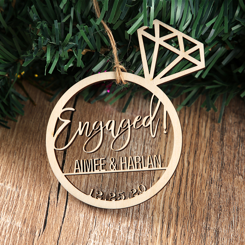 Christmas Engagement Ornament, Wedding Proposal Ideas, Engaged Ring Ornament, Custom Engagement Christmas Ornament image