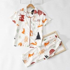 Image 3 - Tươi Nữ Tay Ngắn Mùa Hè Pyjamas Nữ 100% Gạc Cotton Đồ Ngủ Nữ Hàn Quốc Bộ Đồ Ngủ Bộ Nữ Homewear Mới Bán