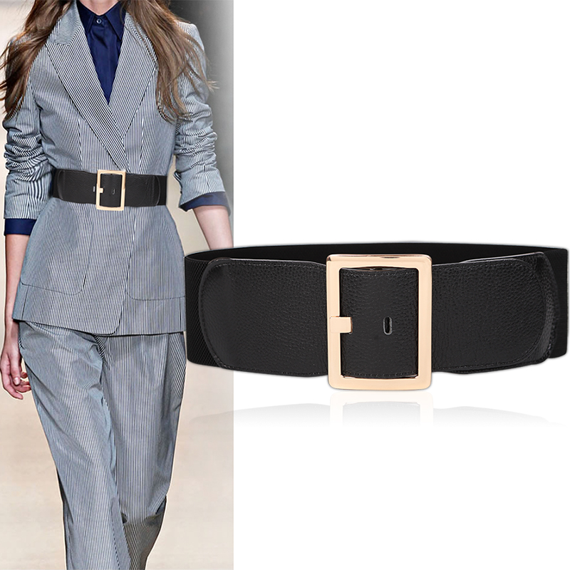 Real Cow Leather Wide Belt Women Trench Cummerbunds Coat Black For Dress Cowskin Gold Pin Buckle Waistbands Elastic Waistband