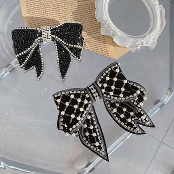 Fashion hair accessories women crystal pearl bow hairpins temperament top clip spring word clip back head clip hairpin headwear 2019 fashion pearl hair clip women hairpin girls hairpins barrette headwear hairgrip hair accessories dropship new arrival