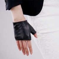 Couro real ultra-fino puro pele de carneiro preto metade dedo ultra-curtos luvas condução touchscreen feminino luvas wzp19